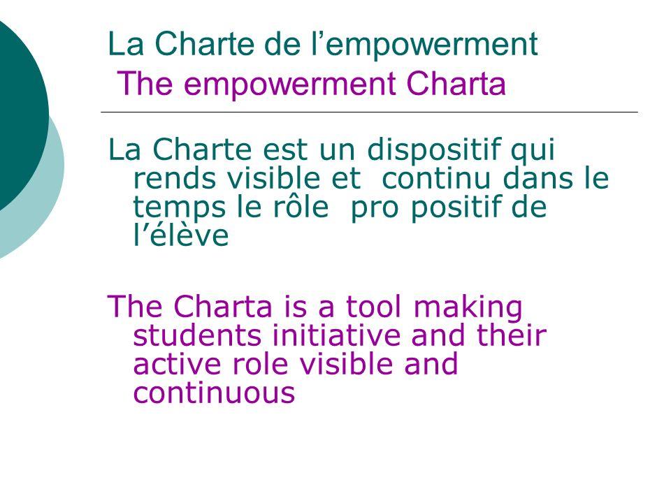 La Charte de lempowerment The empowerment Charta La Charte est un dispositif qui rends visible et continu dans le temps le rôle pro positif de lélève