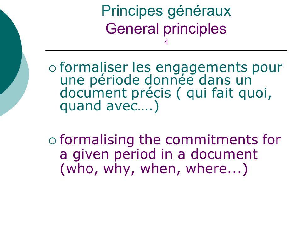 formaliser les engagements pour une période donnée dans un document précis ( qui fait quoi, quand avec….) formalising the commitments for a given peri