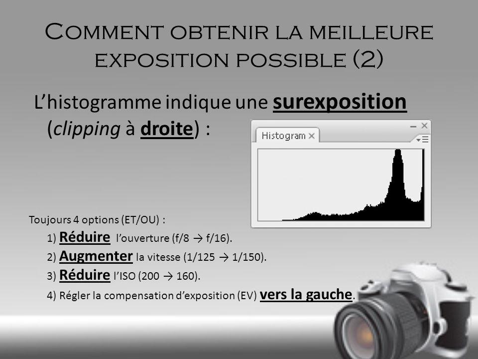 Comment obtenir la meilleure exposition possible (2) Lhistogramme indique une surexposition (clipping à droite) : Toujours 4 options (ET/OU) : 1) Rédu