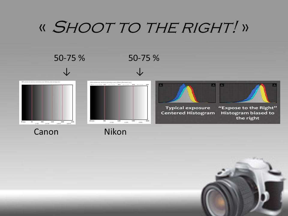 « Shoot to the right! » 50-75 % 50-75 % Canon Nikon