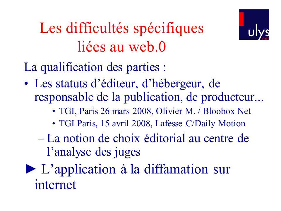 Les difficultés spécifiques liées au web.0 La qualification des parties : Les statuts déditeur, dhébergeur, de responsable de la publication, de produ
