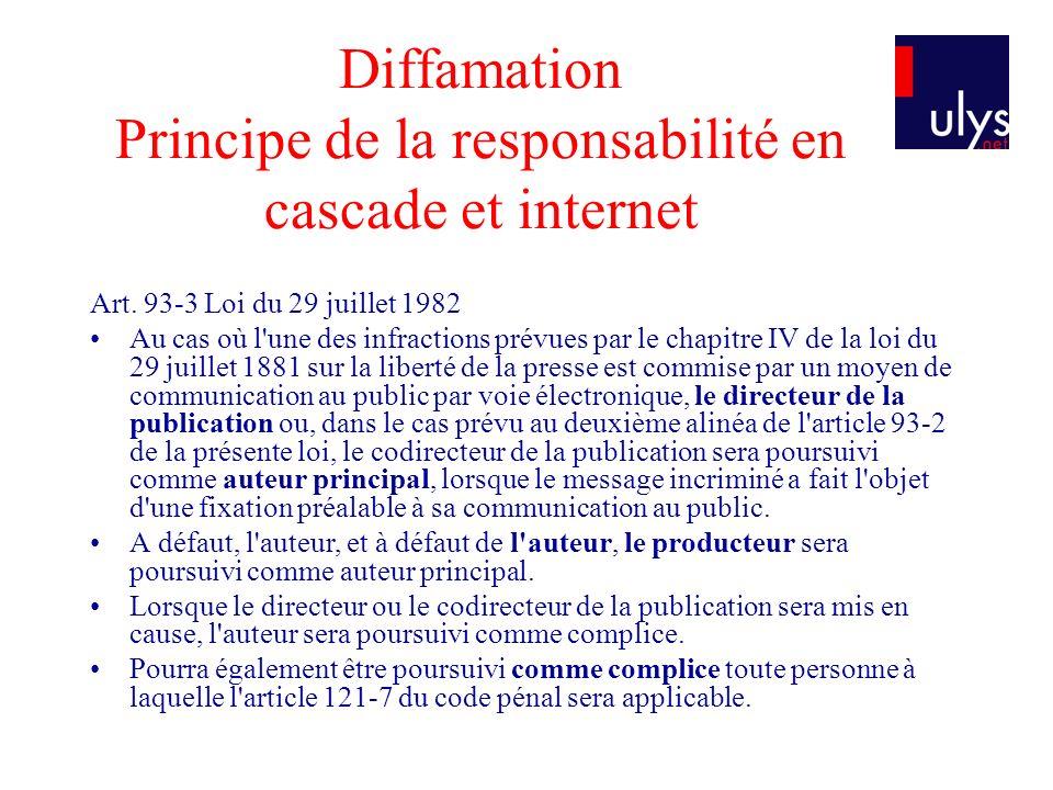 Diffamation Principe de la responsabilité en cascade et internet Art. 93-3 Loi du 29 juillet 1982 Au cas où l'une des infractions prévues par le chapi