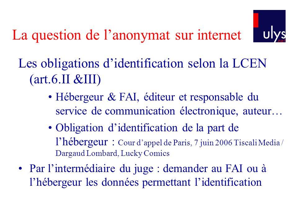 La question de lanonymat sur internet Les obligations didentification selon la LCEN (art.6.II &III) Hébergeur & FAI, éditeur et responsable du service