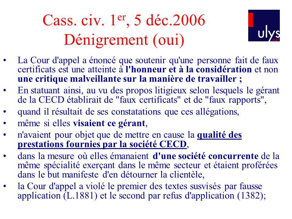 Cass. civ. 1 er, 5 déc.2006 Dénigrement (oui) La Cour d'appel a énoncé que soutenir qu'une personne fait de faux certificats est une atteinte à l'honn
