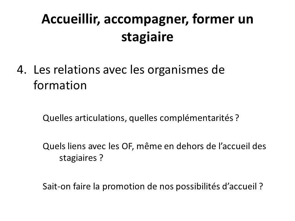 Accueillir, accompagner, former un stagiaire 4.Les relations avec les organismes de formation Quelles articulations, quelles complémentarités .