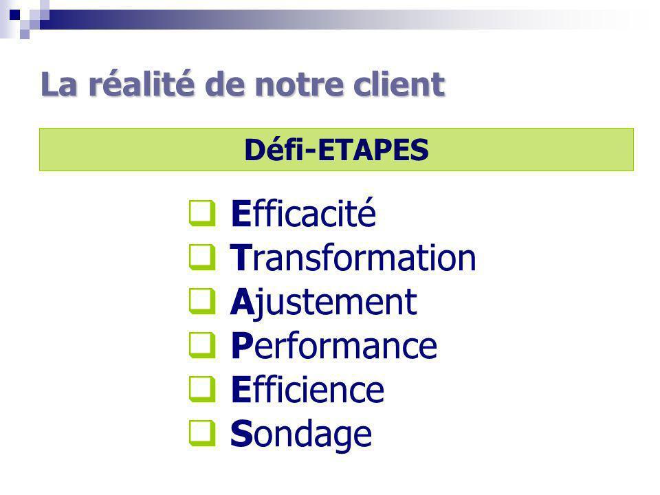 La réalité de notre client Défi-ETAPES Efficacité Transformation Ajustement Performance Efficience Sondage