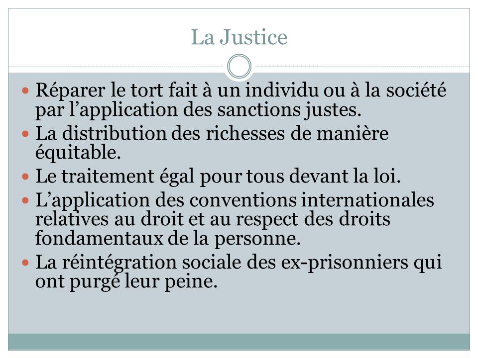 La Justice Réparer le tort fait à un individu ou à la société par lapplication des sanctions justes. La distribution des richesses de manière équitabl