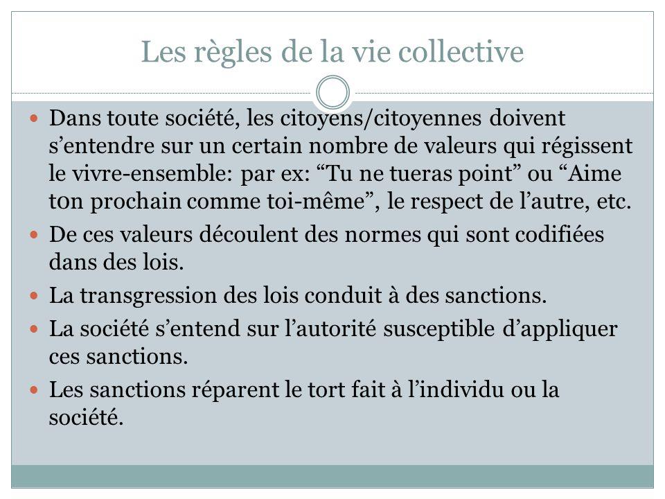 Les règles de la vie collective Dans toute société, les citoyens/citoyennes doivent sentendre sur un certain nombre de valeurs qui régissent le vivre-