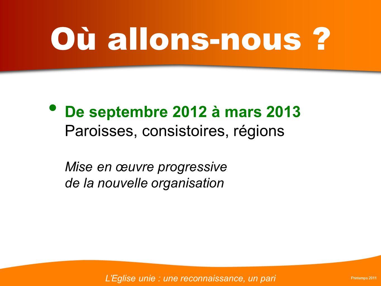 LEglise unie : une reconnaissance, un pari Printemps 2011 Où allons-nous ? De septembre 2012 à mars 2013 Paroisses, consistoires, régions Mise en œuvr