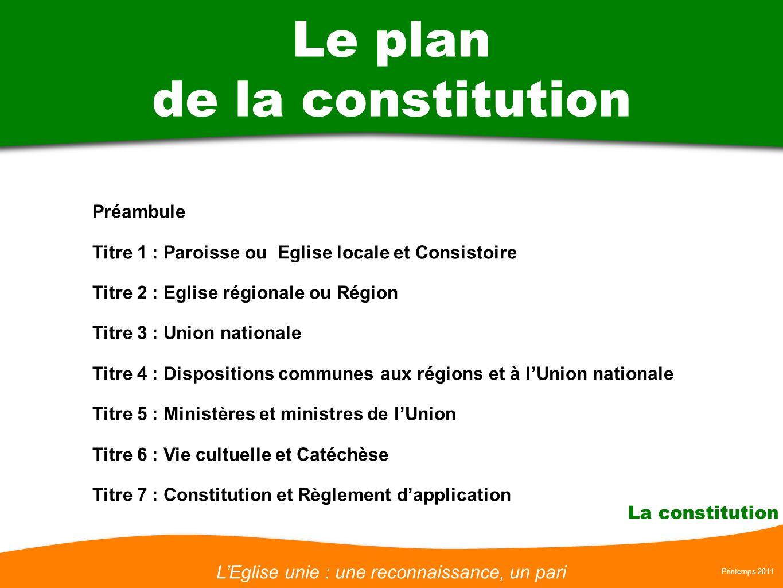 LEglise unie : une reconnaissance, un pari Printemps 2011 La constitution Le plan de la constitution Préambule Titre 1 : Paroisse ou Eglise locale et