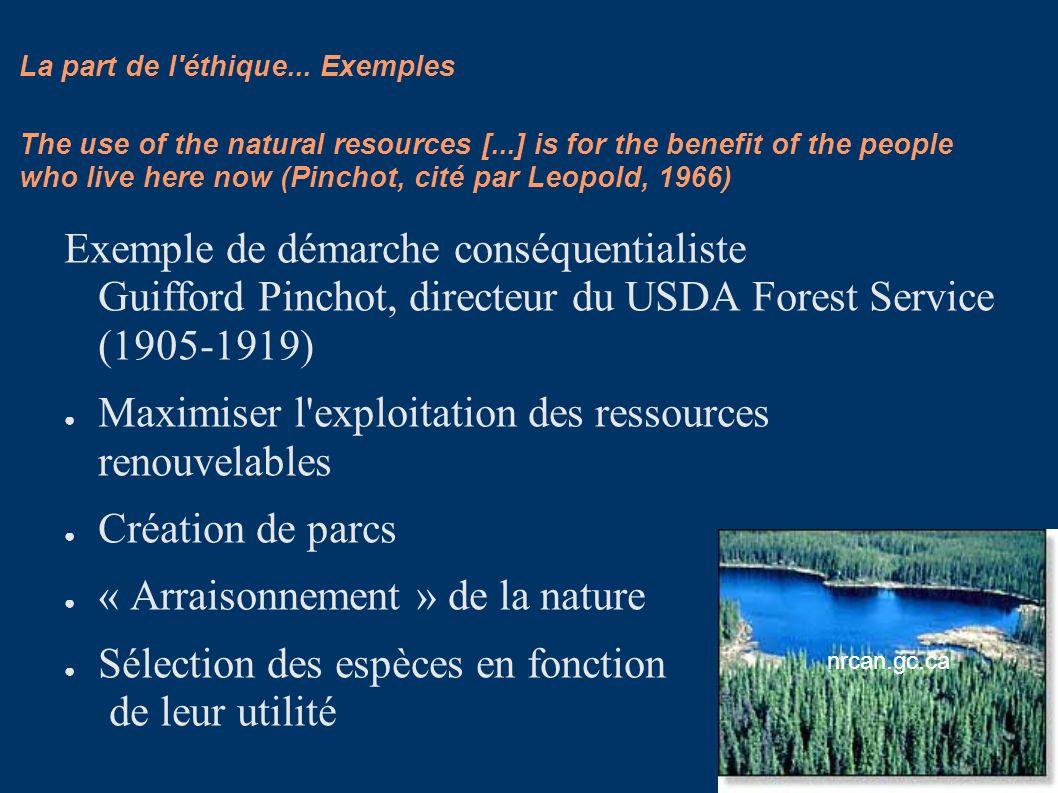 La part de l'éthique... Exemples Exemple de démarche conséquentialiste Guifford Pinchot, directeur du USDA Forest Service (1905-1919) Maximiser l'expl