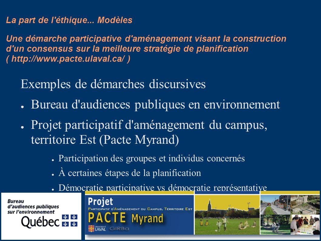 La part de l'éthique... Modèles Exemples de démarches discursives Bureau d'audiences publiques en environnement Projet participatif d'aménagement du c