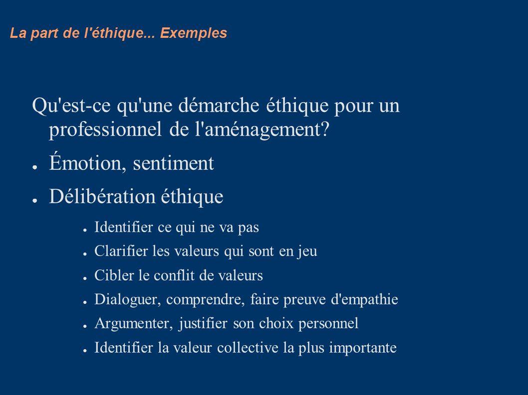 La part de l'éthique... Exemples Qu'est-ce qu'une démarche éthique pour un professionnel de l'aménagement? Émotion, sentiment Délibération éthique Ide