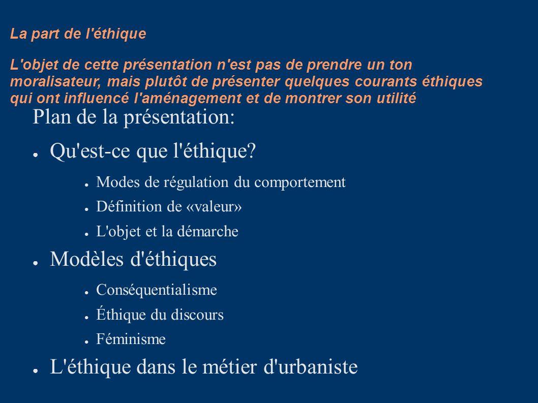 La part de l'éthique Plan de la présentation: Qu'est-ce que l'éthique? Modes de régulation du comportement Définition de «valeur» L'objet et la démarc