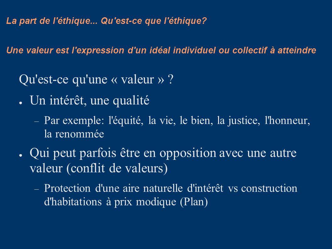 La part de l'éthique... Qu'est-ce que l'éthique? Qu'est-ce qu'une « valeur » ? Un intérêt, une qualité Par exemple: l'équité, la vie, le bien, la just