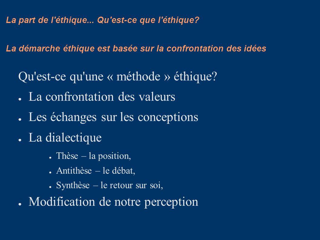 La part de l'éthique... Qu'est-ce que l'éthique? Qu'est-ce qu'une « méthode » éthique? La confrontation des valeurs Les échanges sur les conceptions L
