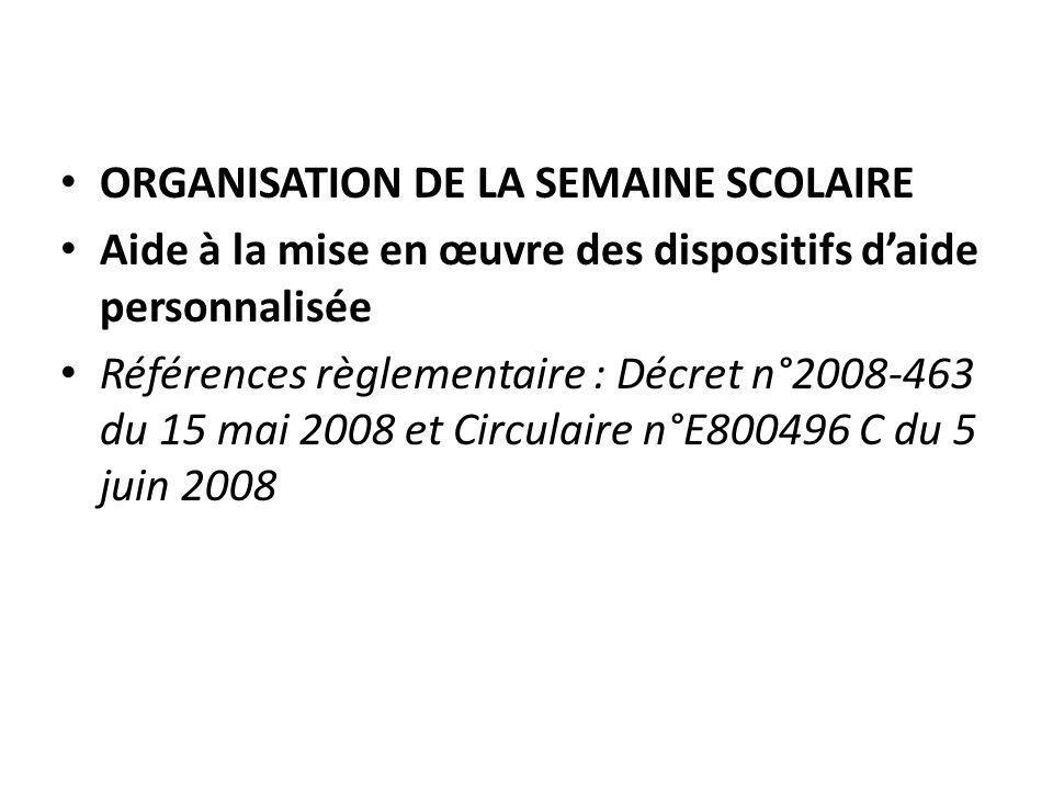 ORGANISATION DE LA SEMAINE SCOLAIRE Aide à la mise en œuvre des dispositifs daide personnalisée Références règlementaire : Décret n°2008-463 du 15 mai 2008 et Circulaire n°E800496 C du 5 juin 2008