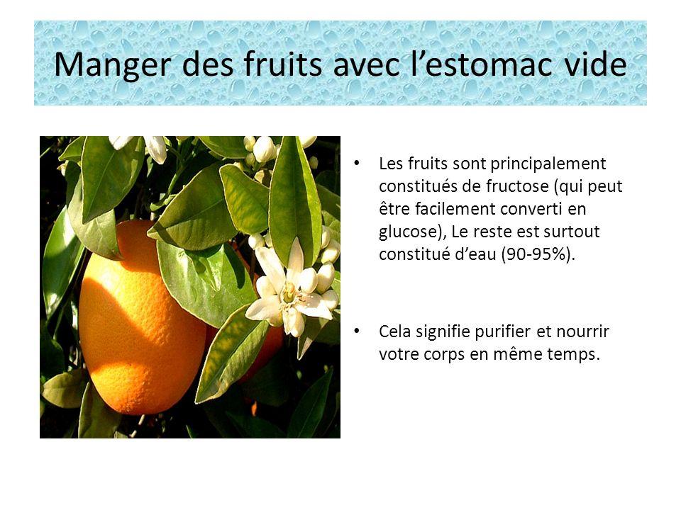 Manger des fruits avec lestomac vide Les fruits sont principalement constitués de fructose (qui peut être facilement converti en glucose), Le reste est surtout constitué deau (90-95%).
