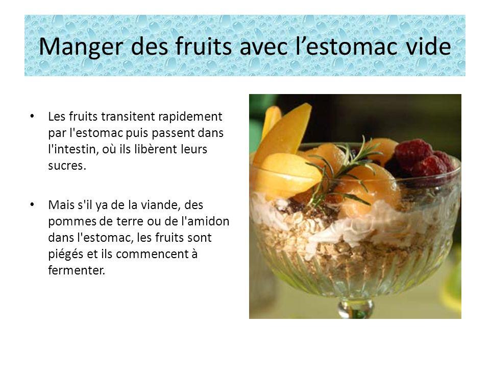 Manger des fruits avec lestomac vide Les fruits transitent rapidement par l estomac puis passent dans l intestin, où ils libèrent leurs sucres.