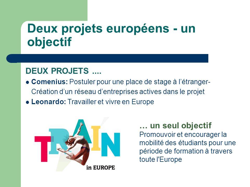Deux projets européens - un objectif DEUX PROJETS....
