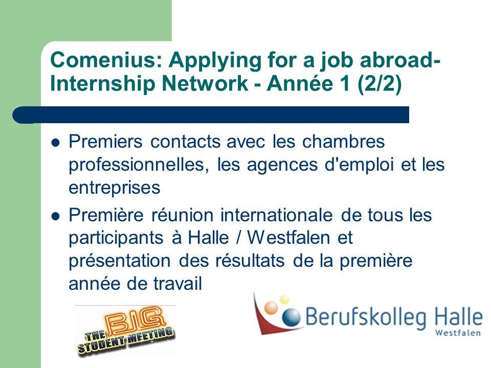 Comenius: Applying for a job abroad- Internship Network - Année 1 (2/2) Premiers contacts avec les chambres professionnelles, les agences d emploi et les entreprises Première réunion internationale de tous les participants à Halle / Westfalen et présentation des résultats de la première année de travail
