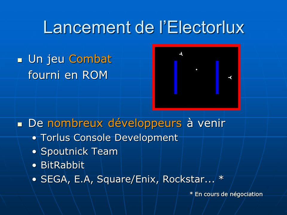 Lancement de lElectorlux Un jeu Combat Un jeu Combat fourni en ROM De nombreux développeurs à venir De nombreux développeurs à venir Torlus Console DevelopmentTorlus Console Development Spoutnick TeamSpoutnick Team BitRabbitBitRabbit SEGA, E.A, Square/Enix, Rockstar...