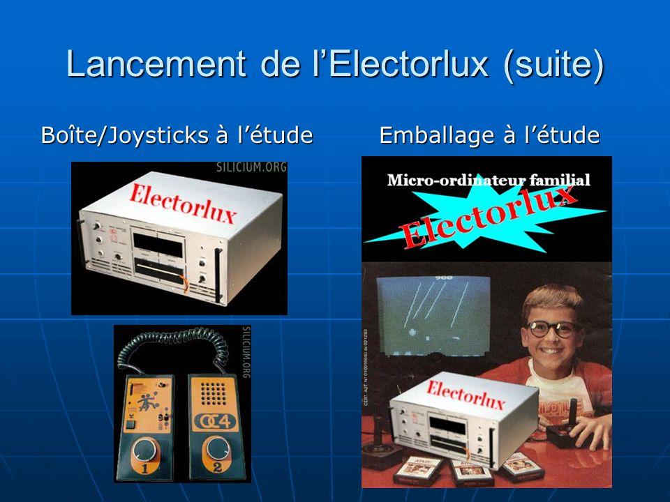 Lancement de lElectorlux (suite) Boîte/Joysticks à létude Emballage à létude