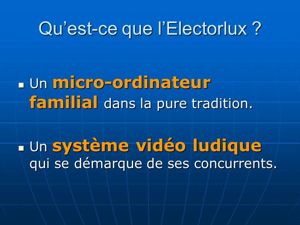 Quest-ce que lElectorlux . Un micro-ordinateur familial dans la pure tradition.