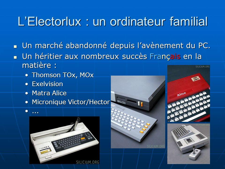 LElectorlux : un ordinateur familial Un marché abandonné depuis lavènement du PC.