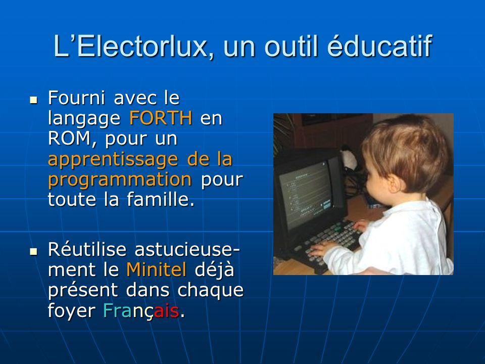 LElectorlux, un outil éducatif Fourni avec le langage FORTH en ROM, pour un apprentissage de la programmation pour toute la famille.