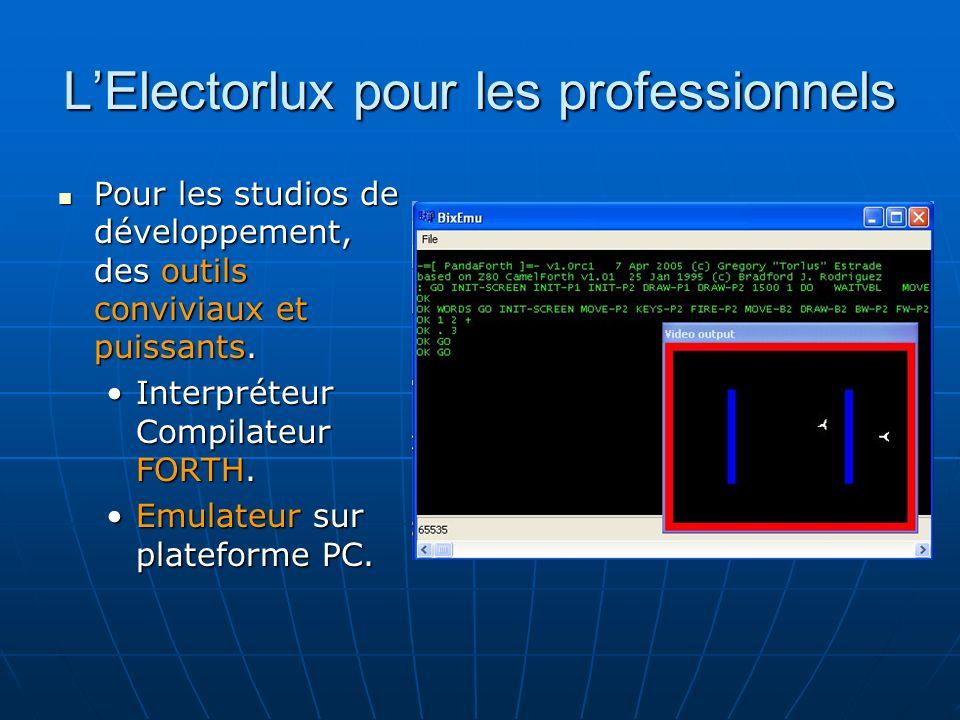 LElectorlux pour les professionnels Pour les studios de développement, des outils conviviaux et puissants.