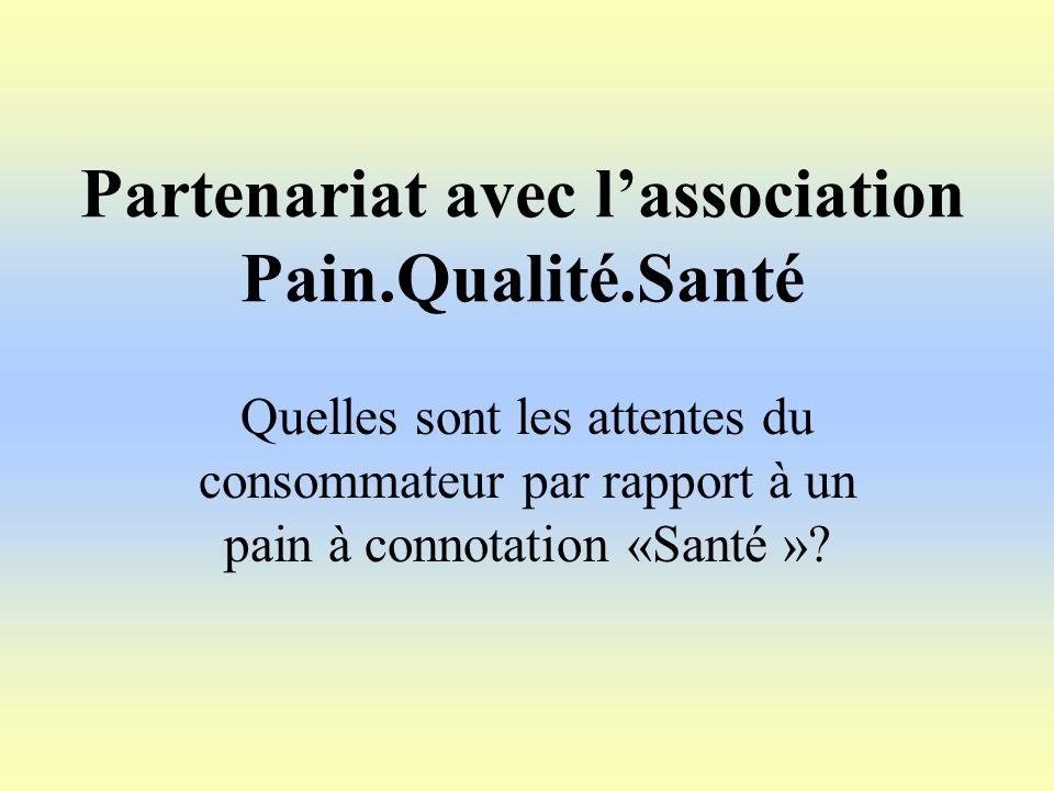 Partenariat avec lassociation Pain.Qualité.Santé Quelles sont les attentes du consommateur par rapport à un pain à connotation «Santé »?