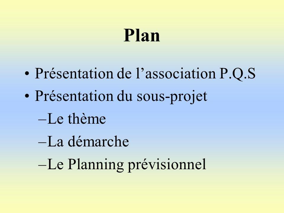 Plan Présentation de lassociation P.Q.S Présentation du sous-projet –Le thème –La démarche –Le Planning prévisionnel