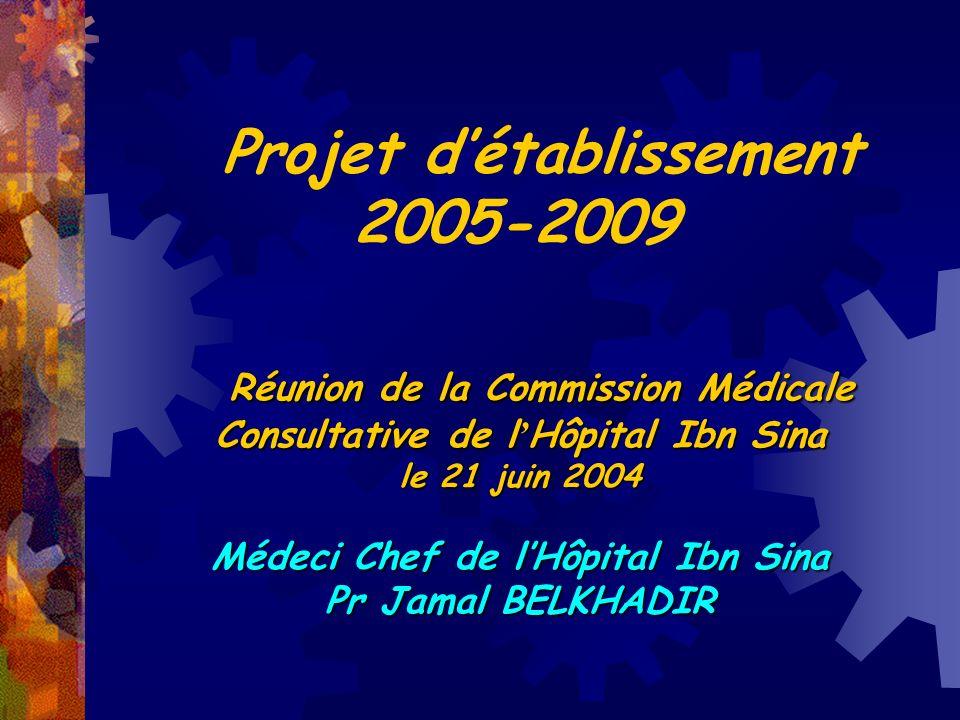Projet détablissement 2005-2009 Réunion de la Commission Médicale Consultative de l Hôpital Ibn Sina Réunion de la Commission Médicale Consultative de