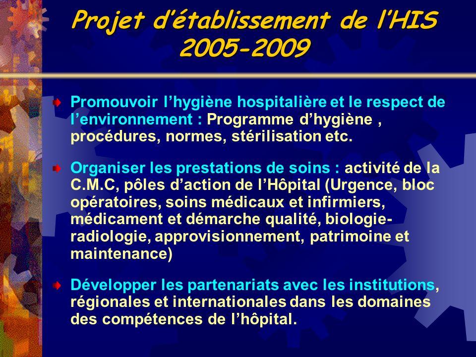 Promouvoir lhygiène hospitalière et le respect de lenvironnement : Programme dhygiène, procédures, normes, stérilisation etc. Organiser les prestation