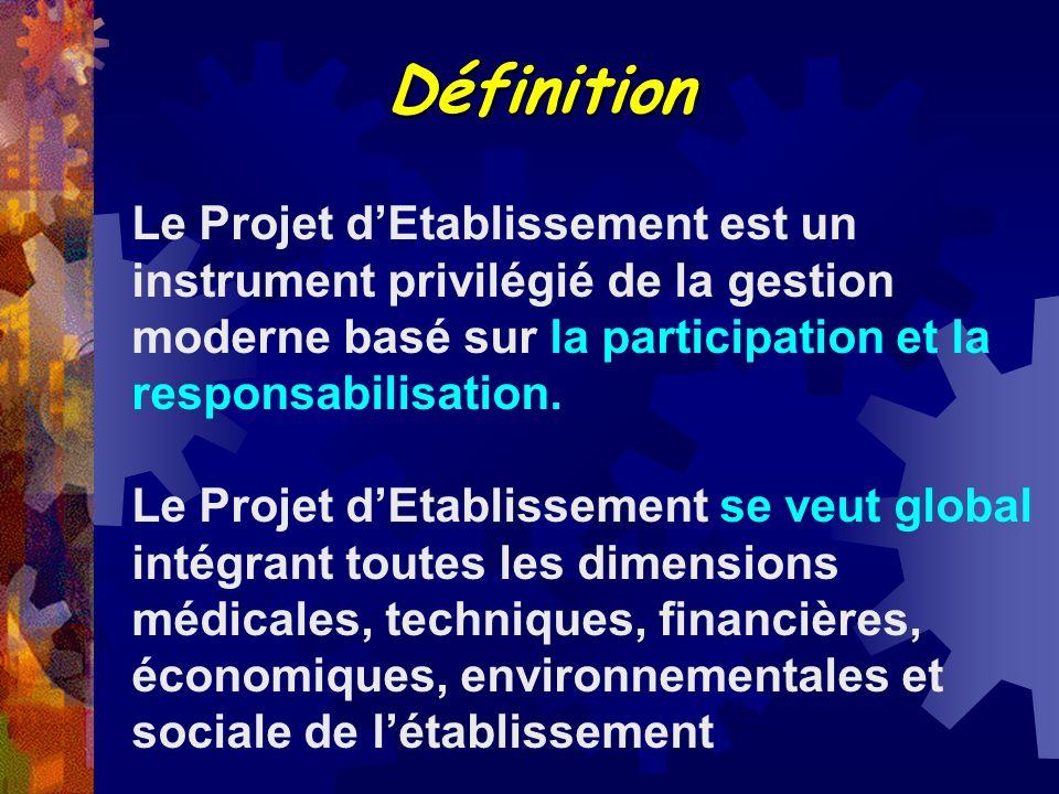 Définition Le Projet dEtablissement est un instrument privilégié de la gestion moderne basé sur la participation et la responsabilisation. Le Projet d