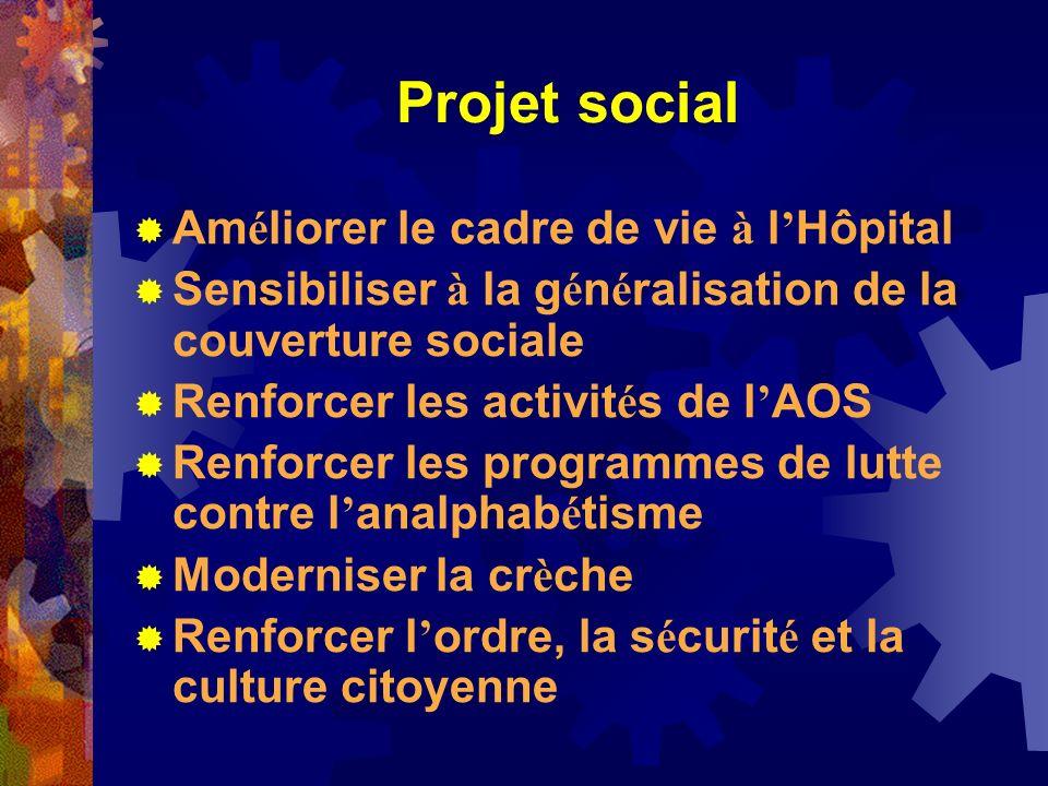 Projet social Am é liorer le cadre de vie à l Hôpital Sensibiliser à la g é n é ralisation de la couverture sociale Renforcer les activit é s de l AOS