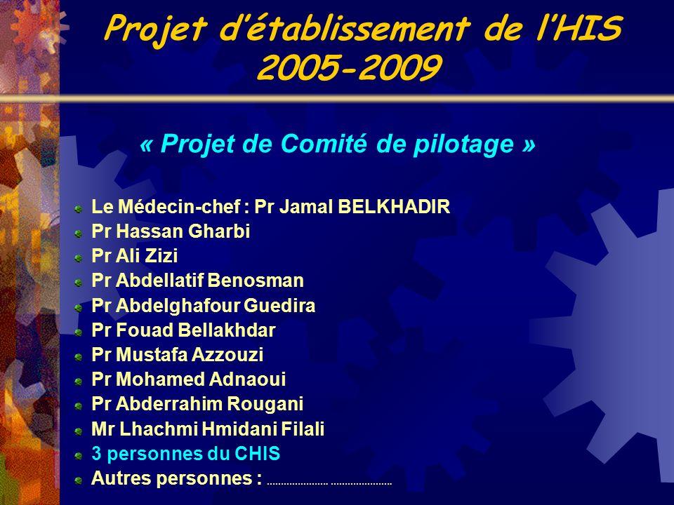 « Projet de Comité de pilotage » Le Médecin-chef : Pr Jamal BELKHADIR Pr Hassan Gharbi Pr Ali Zizi Pr Abdellatif Benosman Pr Abdelghafour Guedira Pr F