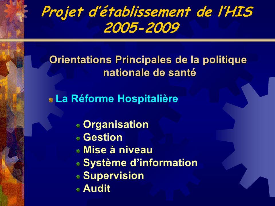 La Réforme Hospitalière Organisation Gestion Mise à niveau Système dinformation Supervision Audit Orientations Principales de la politique nationale d