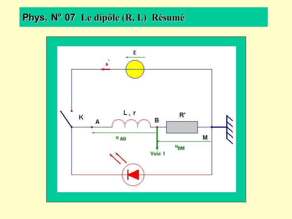 Phys. N° 07 Le dipôle (R, L) Résumé