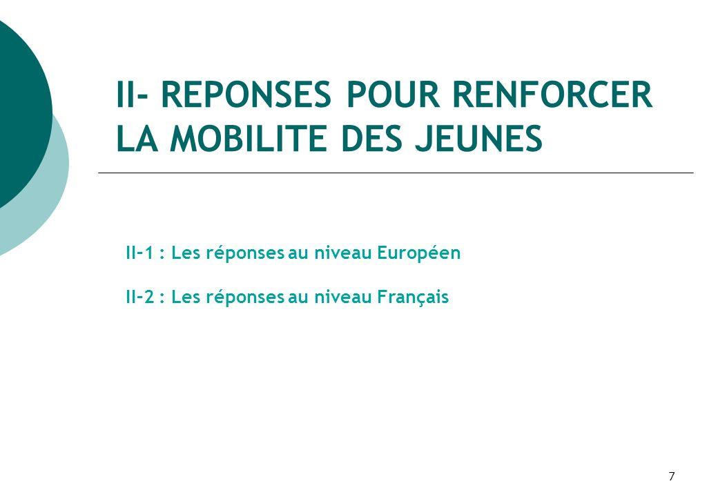 8 II-1 : Les réponses au niveau Européen II-1-1 : Les principaux objectifs du Livre Vert Stimuler le désir de mobilité : convaincre les jeunes daller à létranger pour y acquérir de nouvelles connaissances, compétences et expériences.