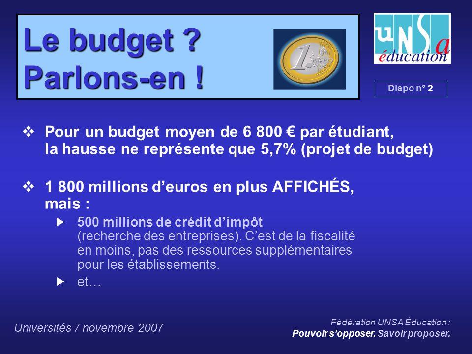 Universités / novembre 2007 Fédération UNSA Éducation : Pouvoir sopposer.