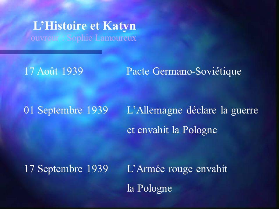 LHistoire et Katyn ouvreur : Sophie Lamoureux 17 Août 1939 Pacte Germano-Soviétique 01 Septembre 1939 LAllemagne déclare la guerre et envahit la Pologne 17 Septembre 1939 LArmée rouge envahit la Pologne