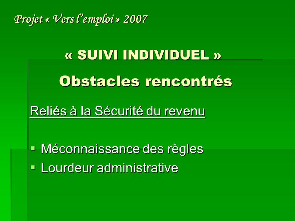 « SUIVI INDIVIDUEL » Obstacles rencontrés Reliés à la Sécurité du revenu Méconnaissance des règles Méconnaissance des règles Lourdeur administrative Lourdeur administrative Projet « Vers lemploi » 2007