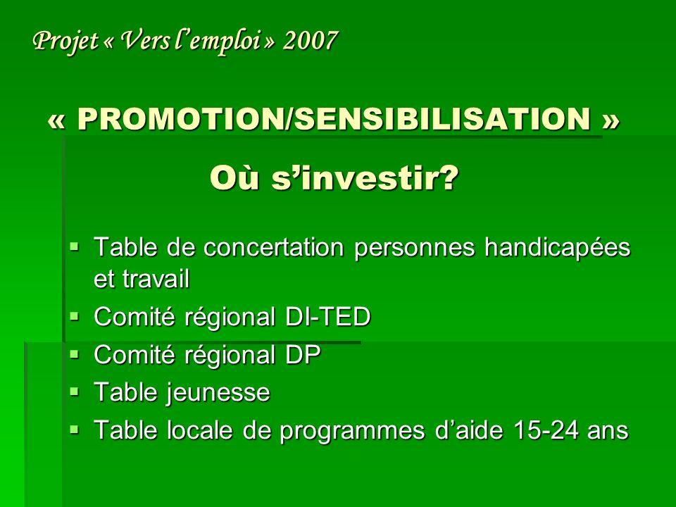 « PROMOTION/SENSIBILISATION » Où sinvestir.