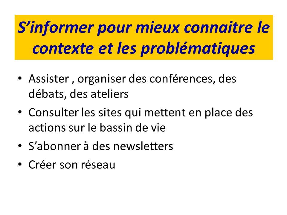 Sinformer pour mieux connaitre le contexte et les problématiques Assister, organiser des conférences, des débats, des ateliers Consulter les sites qui