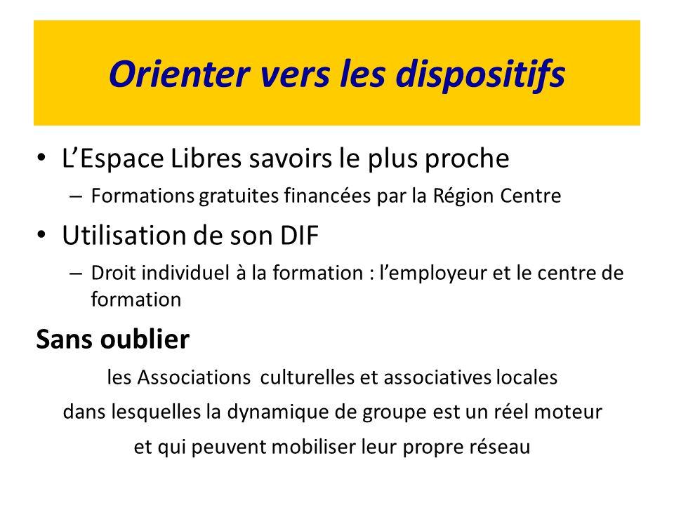 Orienter vers les dispositifs LEspace Libres savoirs le plus proche – Formations gratuites financées par la Région Centre Utilisation de son DIF – Dro