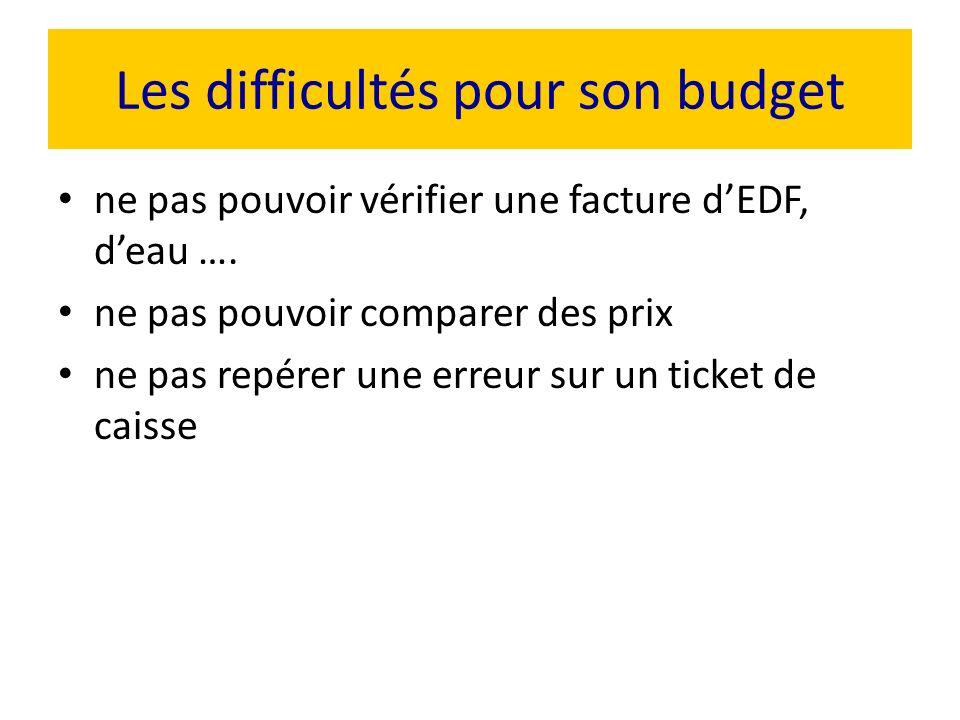 Les difficultés pour son budget ne pas pouvoir vérifier une facture dEDF, deau …. ne pas pouvoir comparer des prix ne pas repérer une erreur sur un ti