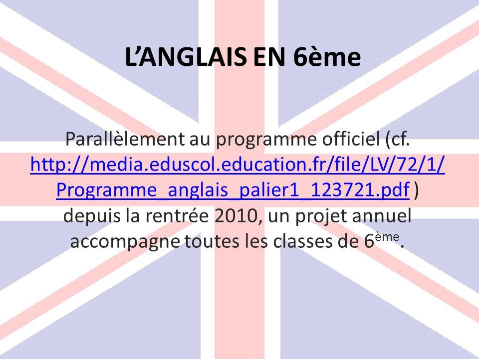LANGLAIS EN 6ème Parallèlement au programme officiel (cf. http://media.eduscol.education.fr/file/LV/72/1/ Programme_anglais_palier1_123721.pdf ) depui