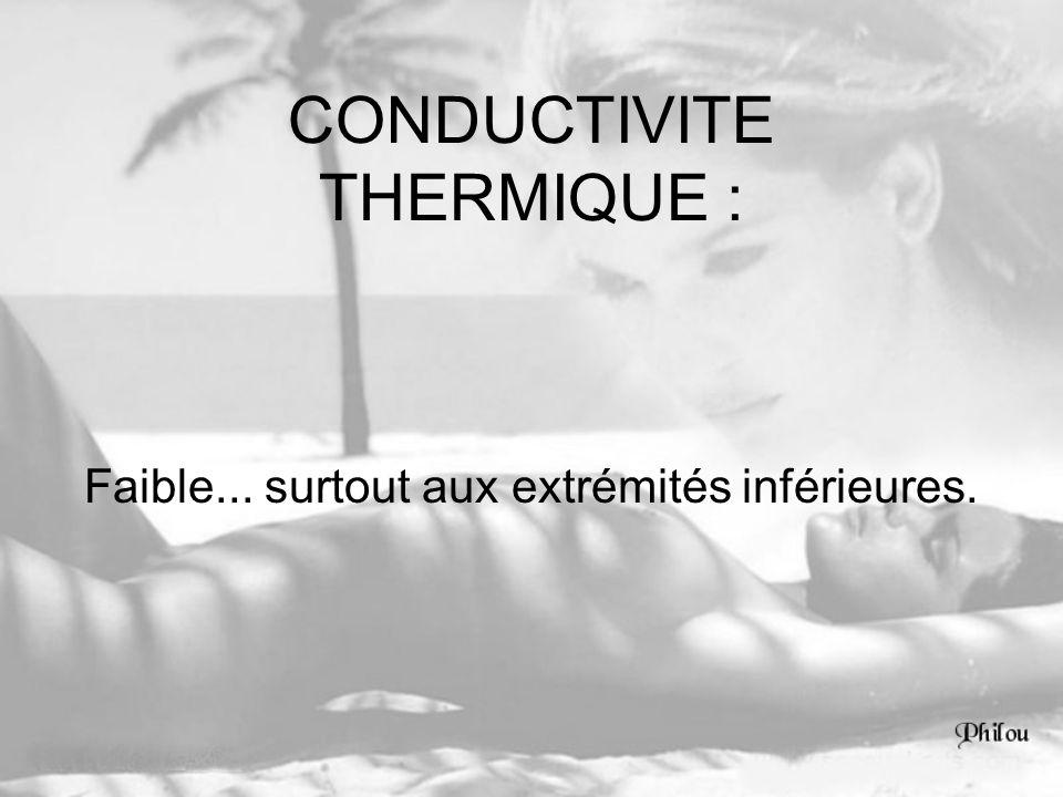 CONDUCTIVITE THERMIQUE : Faible... surtout aux extrémités inférieures.